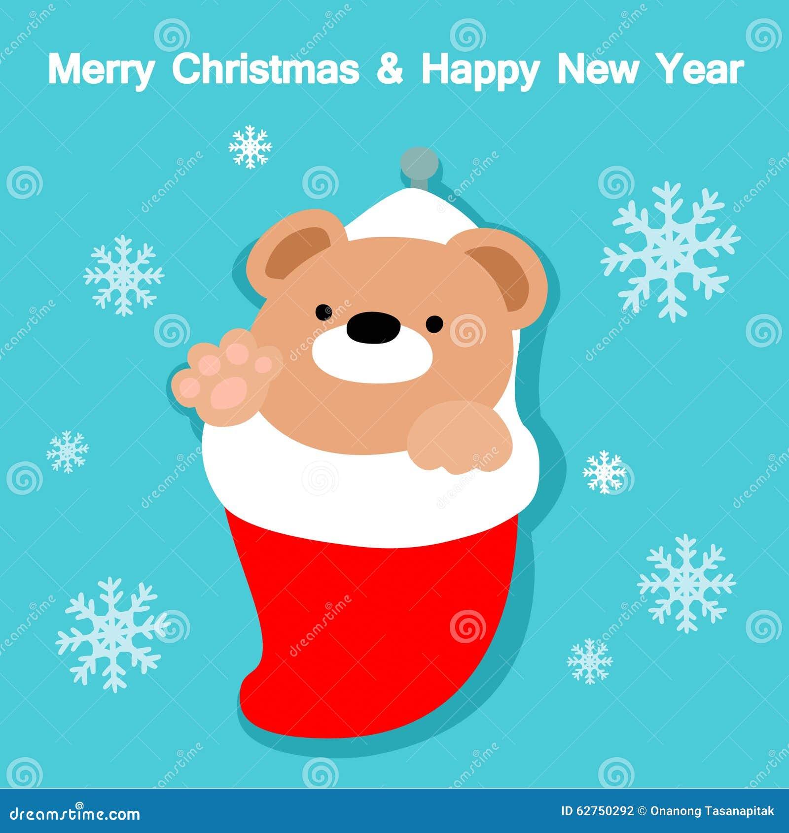 4455401b2e3e Merry Christmas And Happy New Year Cute Bear Card Stock Vector ...