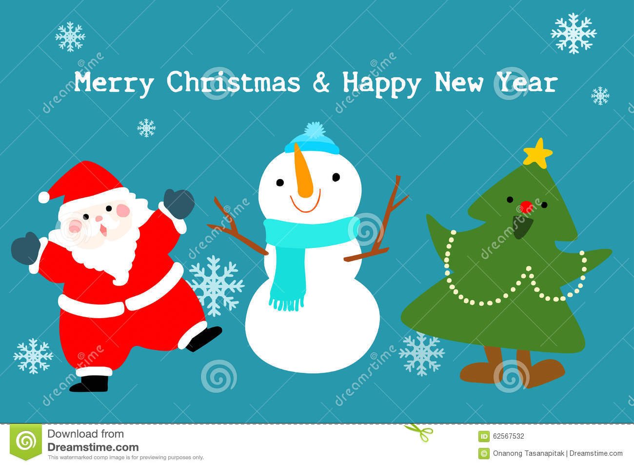 merry christmas and happy new year cute card