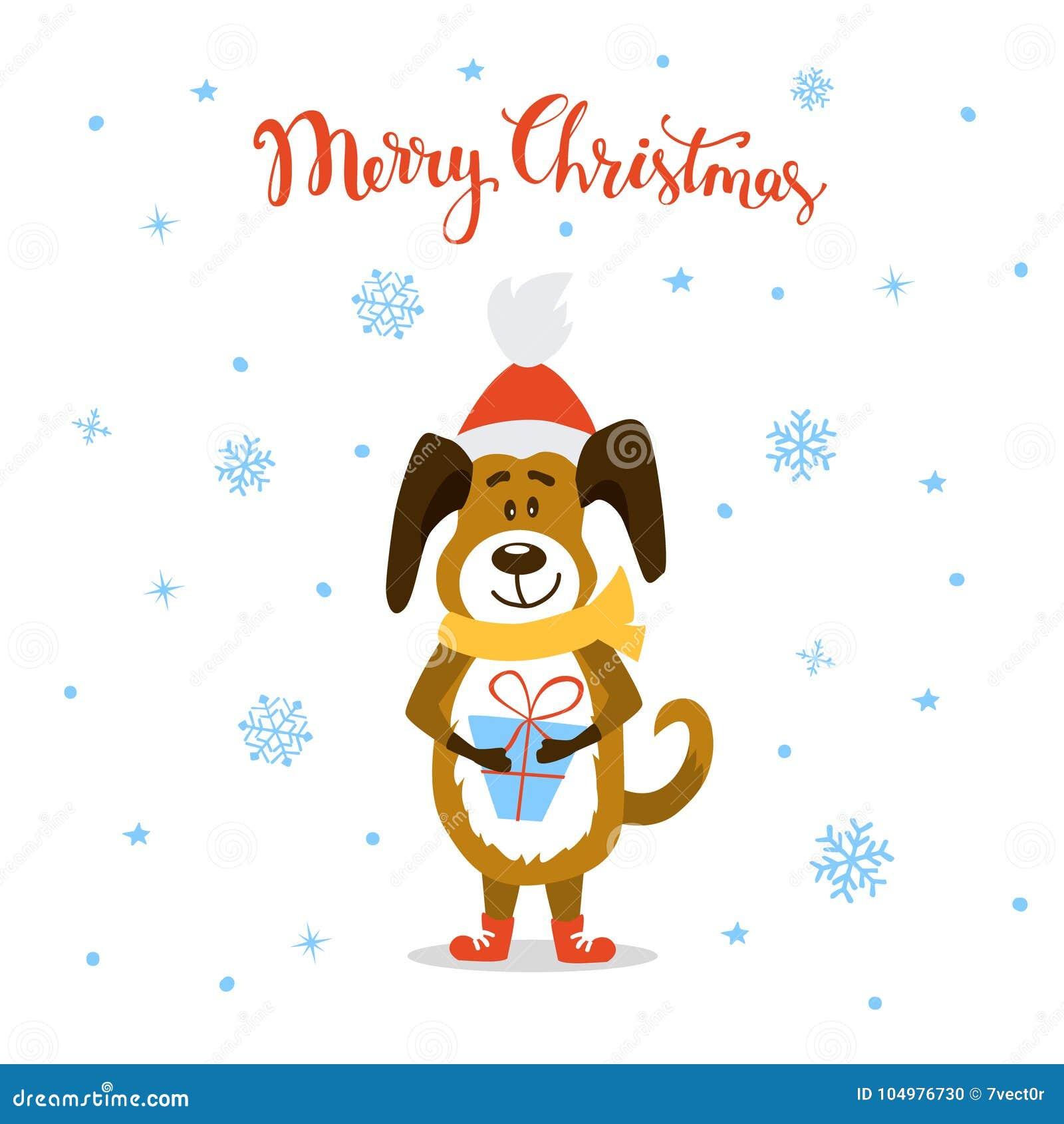 merry christmas happy new year 2018 cute funny cartoon dog
