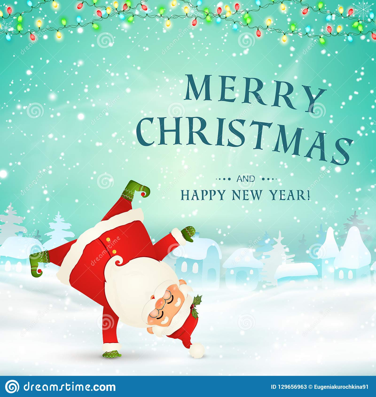 Funny Merry Christmas.Merry Christmas Happy New Year Cute Funny Santa Claus