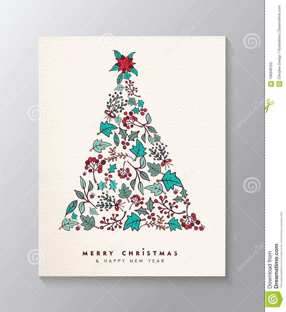 Christmas And New Year Leaf Icon Xmas Tree Card Stock Vector