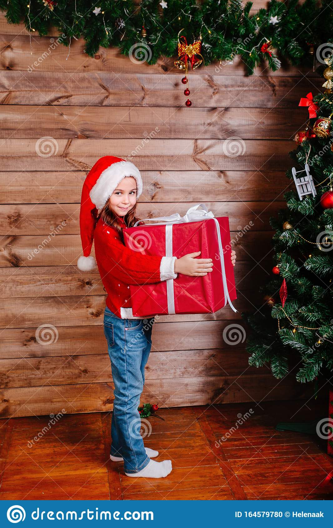 Merry Christmas And Happy New Year. Cute Little Child Girl ...
