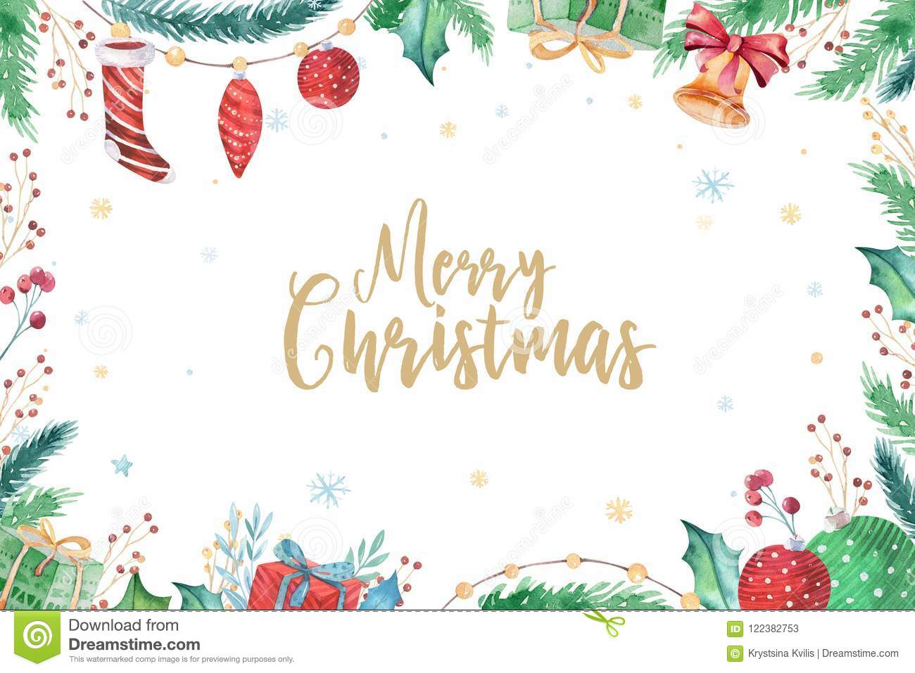 Merry Christmas and Happy New Year 2019 decoration winter set. Watercolor holiday background. Xmas element card