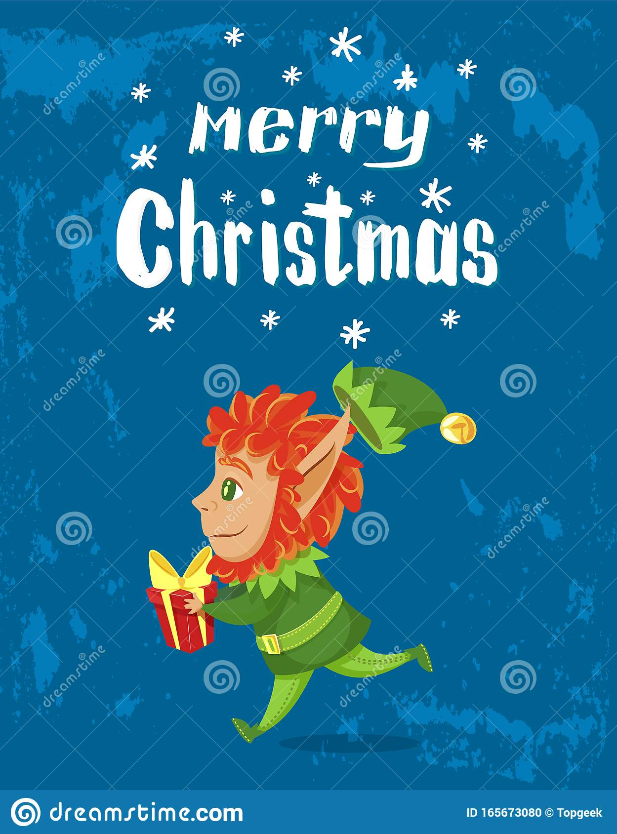Merry Christmas, Elf With Gift Greet With Holiday Stock ...