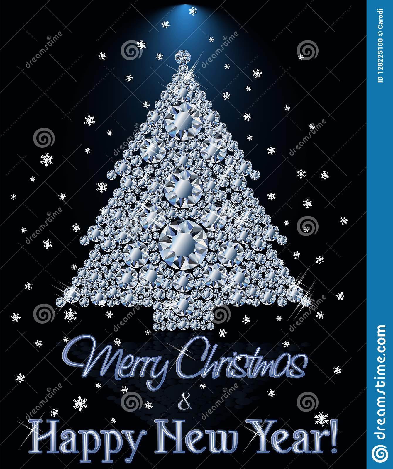 Merry Christmas And Happy New Year Diamond Banner With Xmas Tree ...