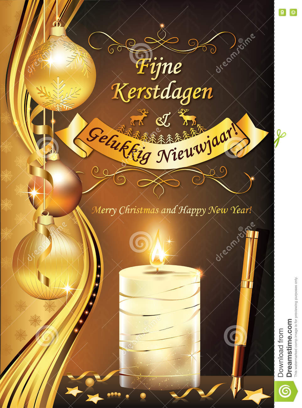 photo relating to Merry Christmas in Different Languages Printable named Merry Xmas And Delighted Clean Calendar year Inside of Dutch Language Inventory