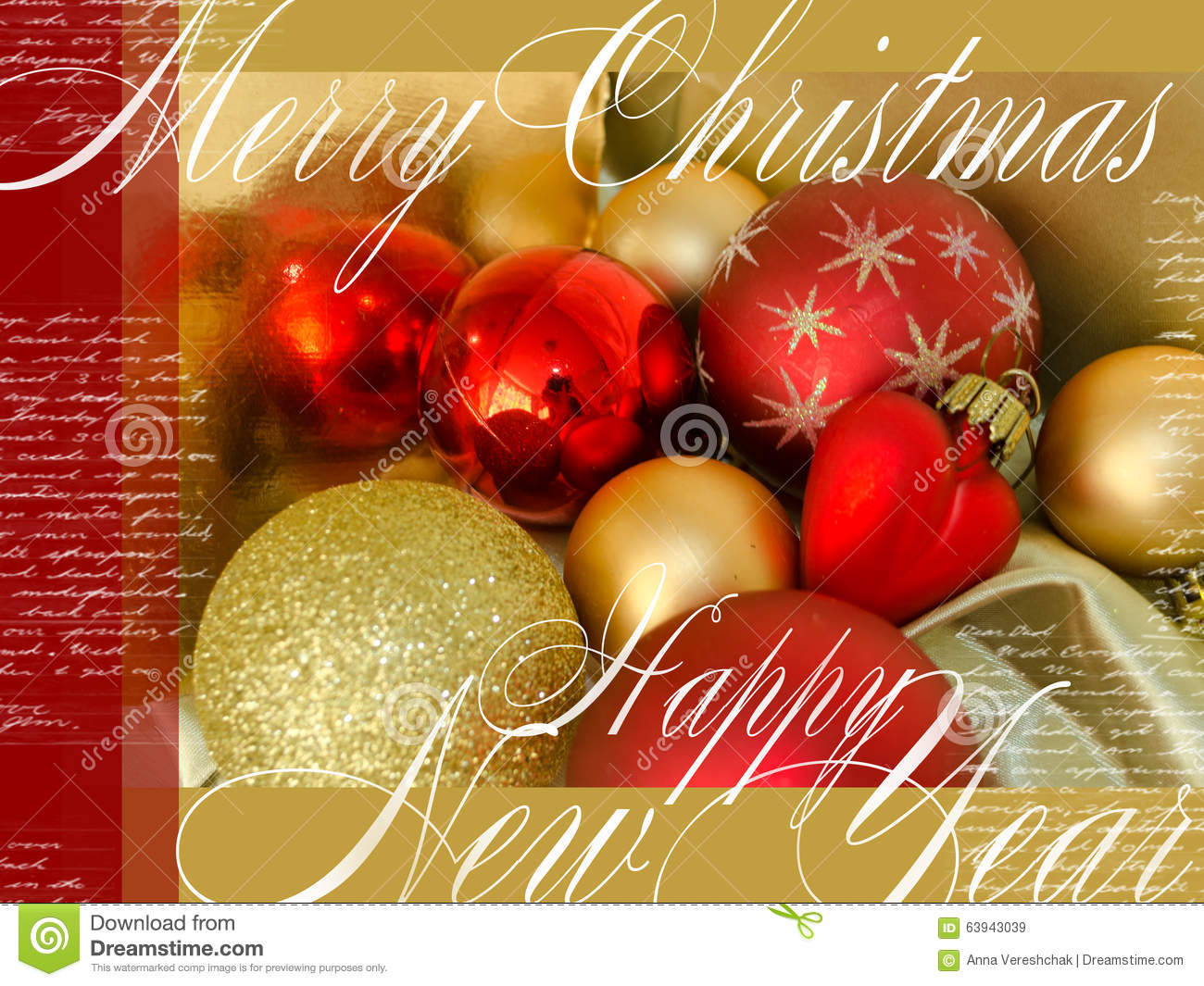 Merry christmas and happy new year festive card with red for Red and yellow christmas tree