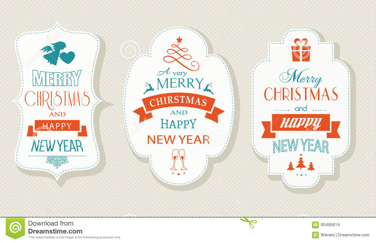Merry Christmas And Happy New Year, Flat Label Set Stock Vector ...