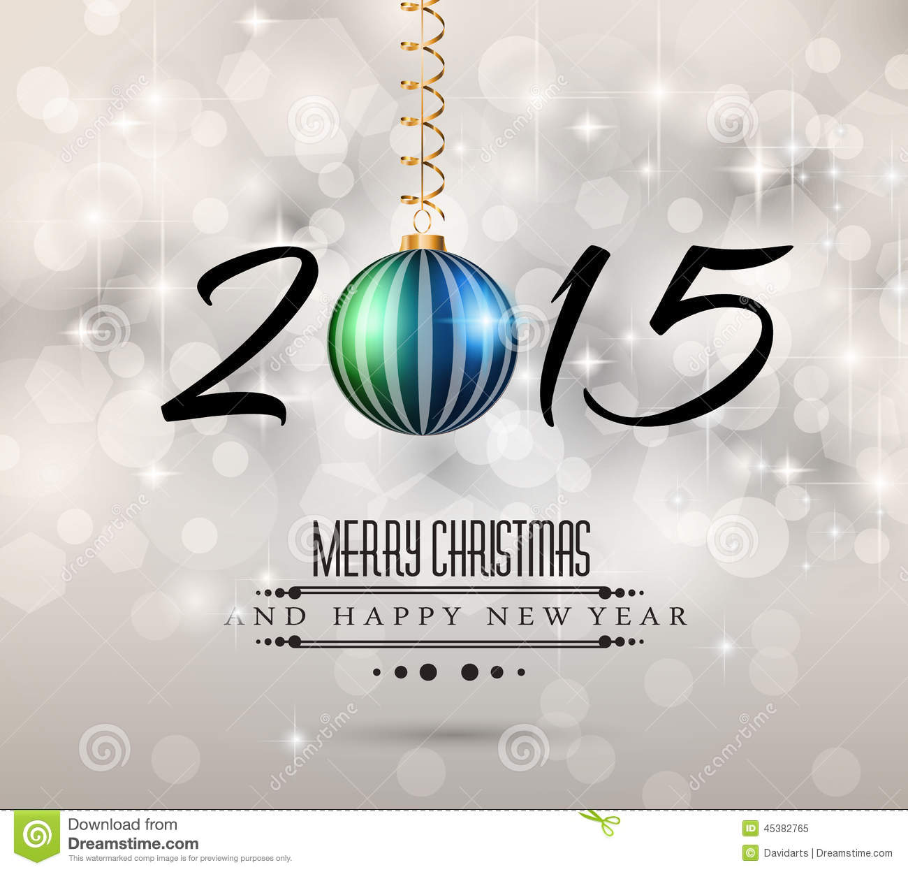 2015 Merry Christmas And Happy New Year Flyer Stock Vector ...