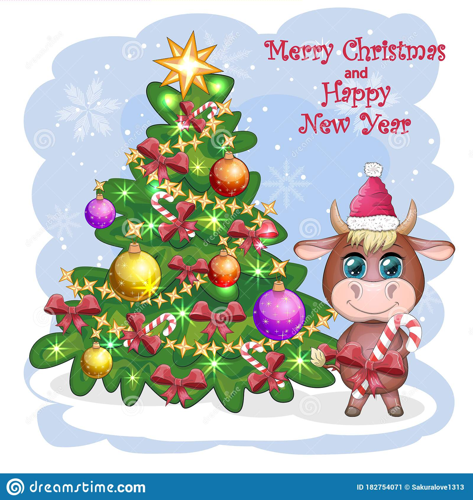 Funny Christmas Travel Greeting Cartoons 2021 Merry Christmas And Happy New Year Funny Cow In Red Hat With Gift In Cartoon Style Greeting Card Stock Image Image Of Label Graphic 182754071