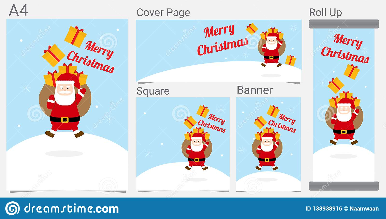 merry christmas and happy new year funny santa claus and ribbon gift cartoon for website banner poster social network design stock vector illustration of claus page 133938916 dreamstime com