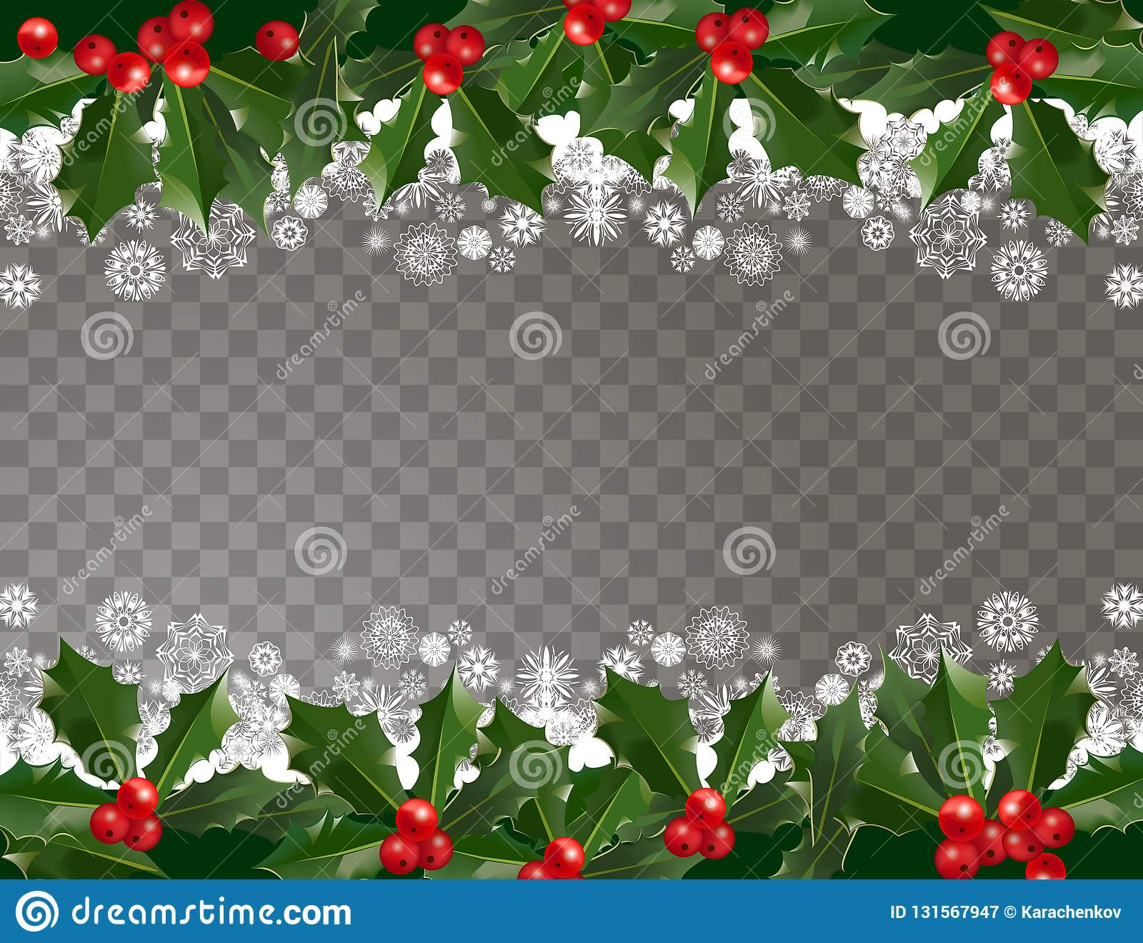 Merry Christmas And Happy New Year Garland Pattern Border With Holly ...