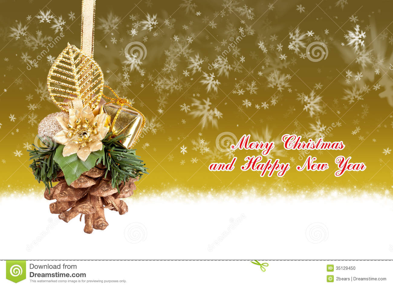 merry christmas and happy new year gold background with balls