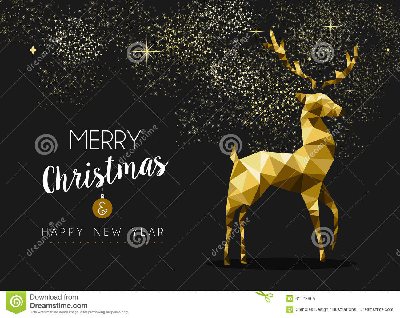 merry christmas happy new year gold deer origami illustration 61278905 megapixl
