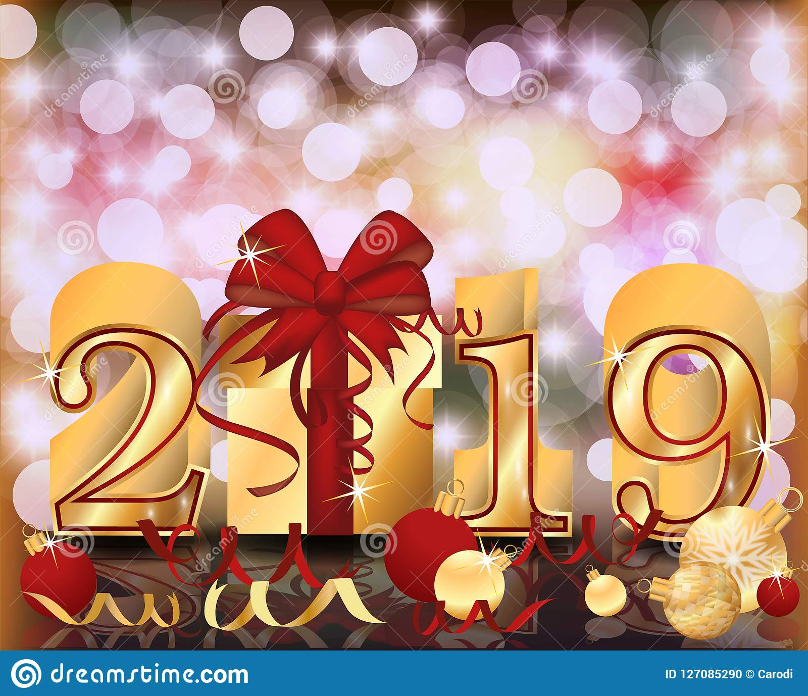 Happy 2019 >> Merry Christmas Happy 2019 New Year Golden Banner Vector Stock