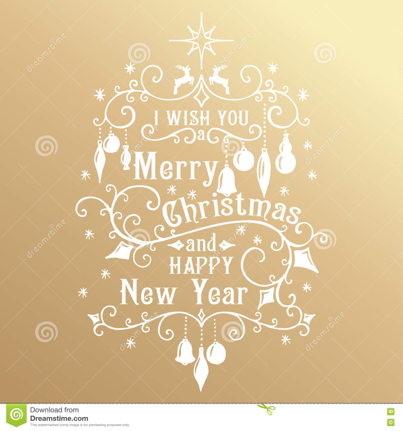 Merry Christmas And Happy New Year Golden Congratulations Card