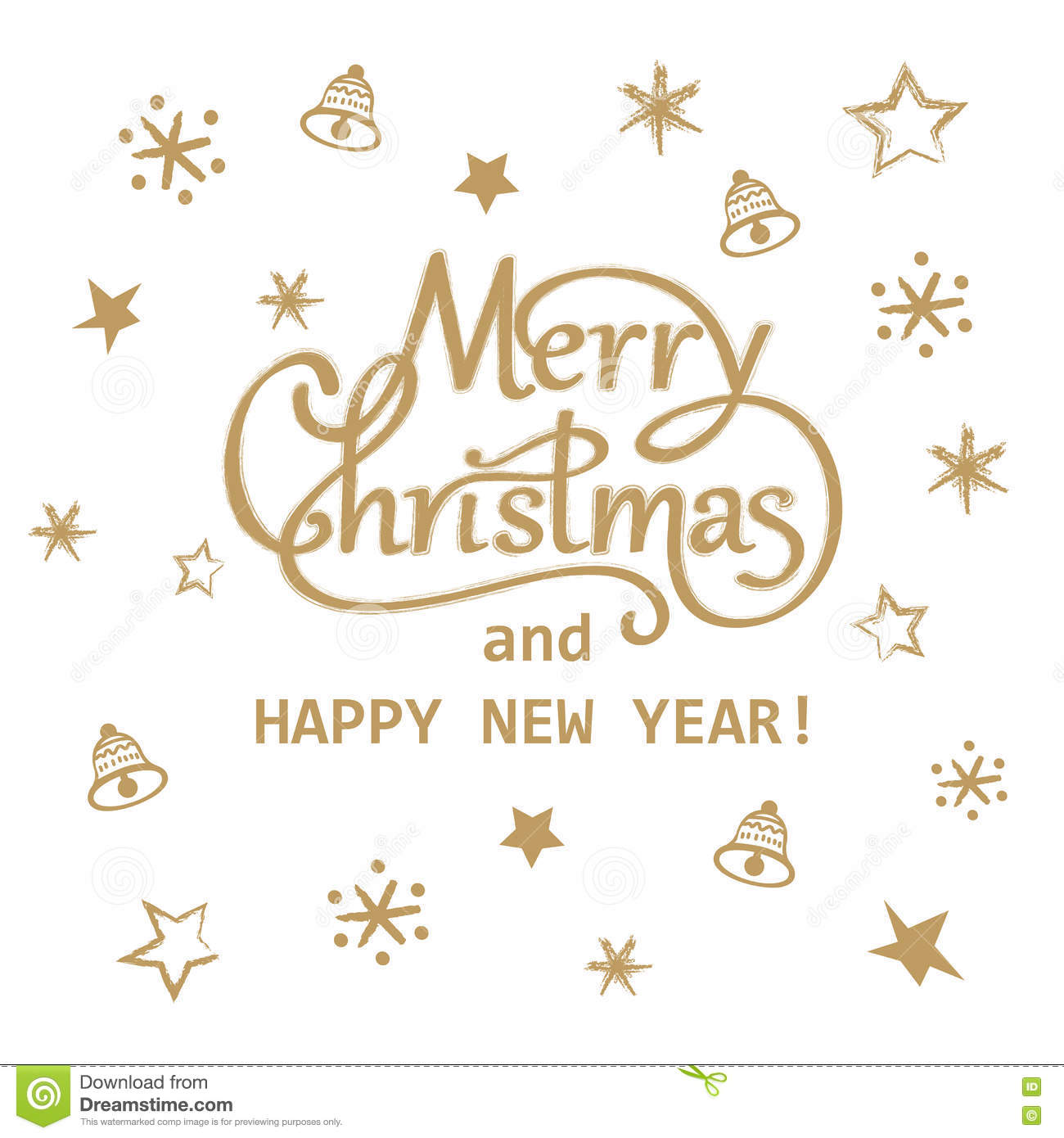 merry christmas and happy new year golden hand drawn lettering greeting card design