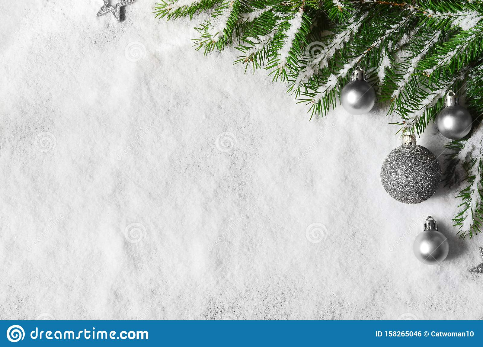 Merry christmas and happy new year greeting background with copy-space. Winter background with snow and christmas light