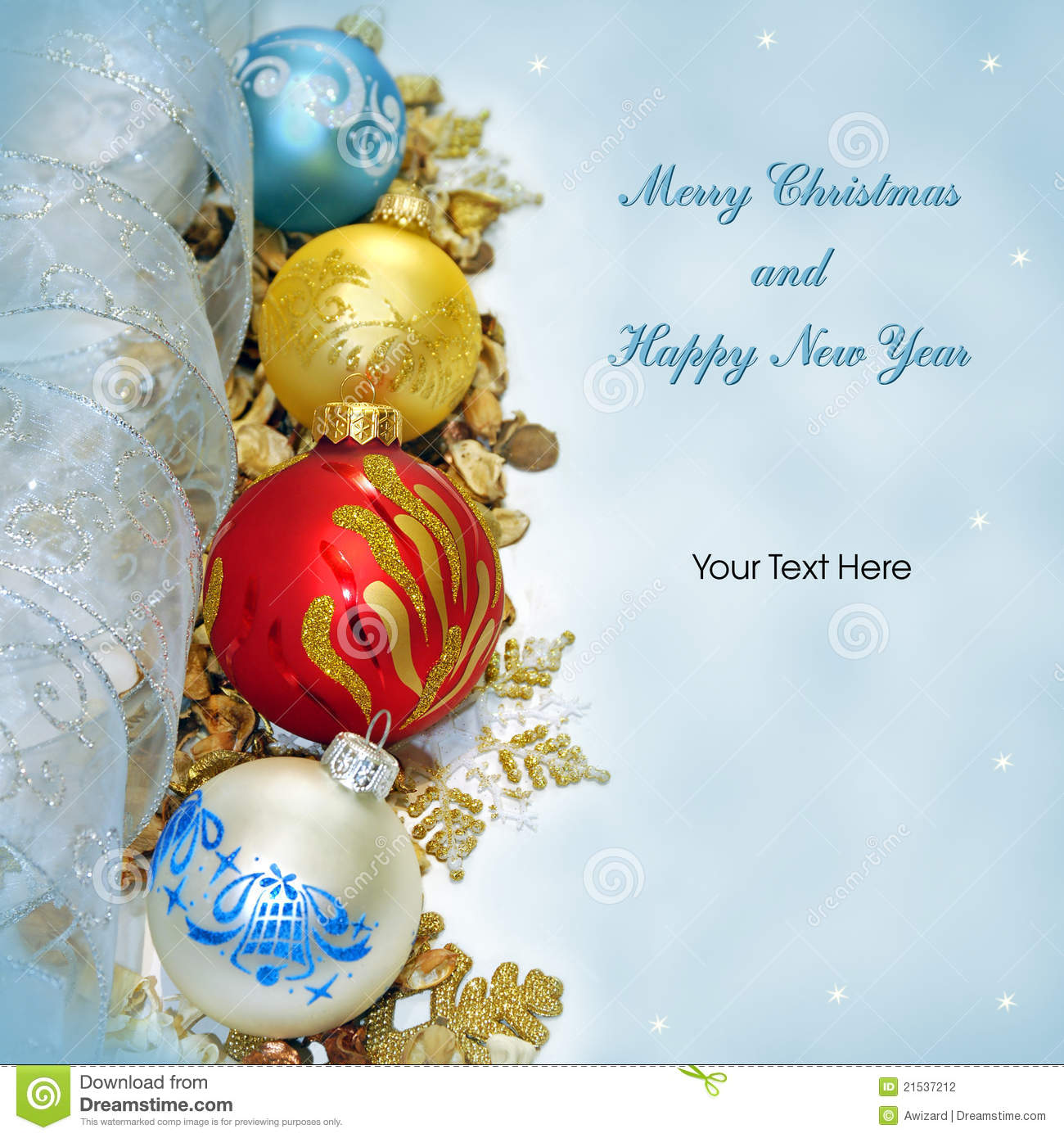 Merry Christmas And Happy New Year Greeting Card Stock Photo Image