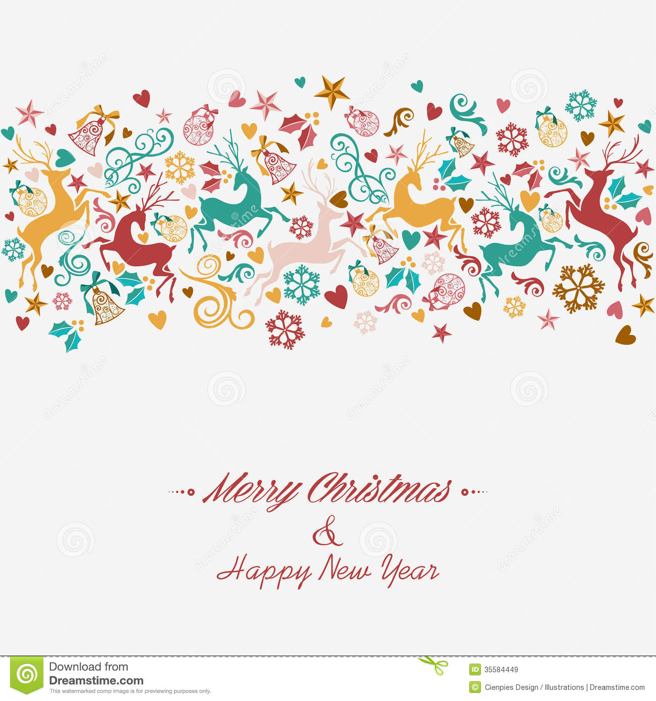 merry christmas and happy new year greeting card royalty free illustration