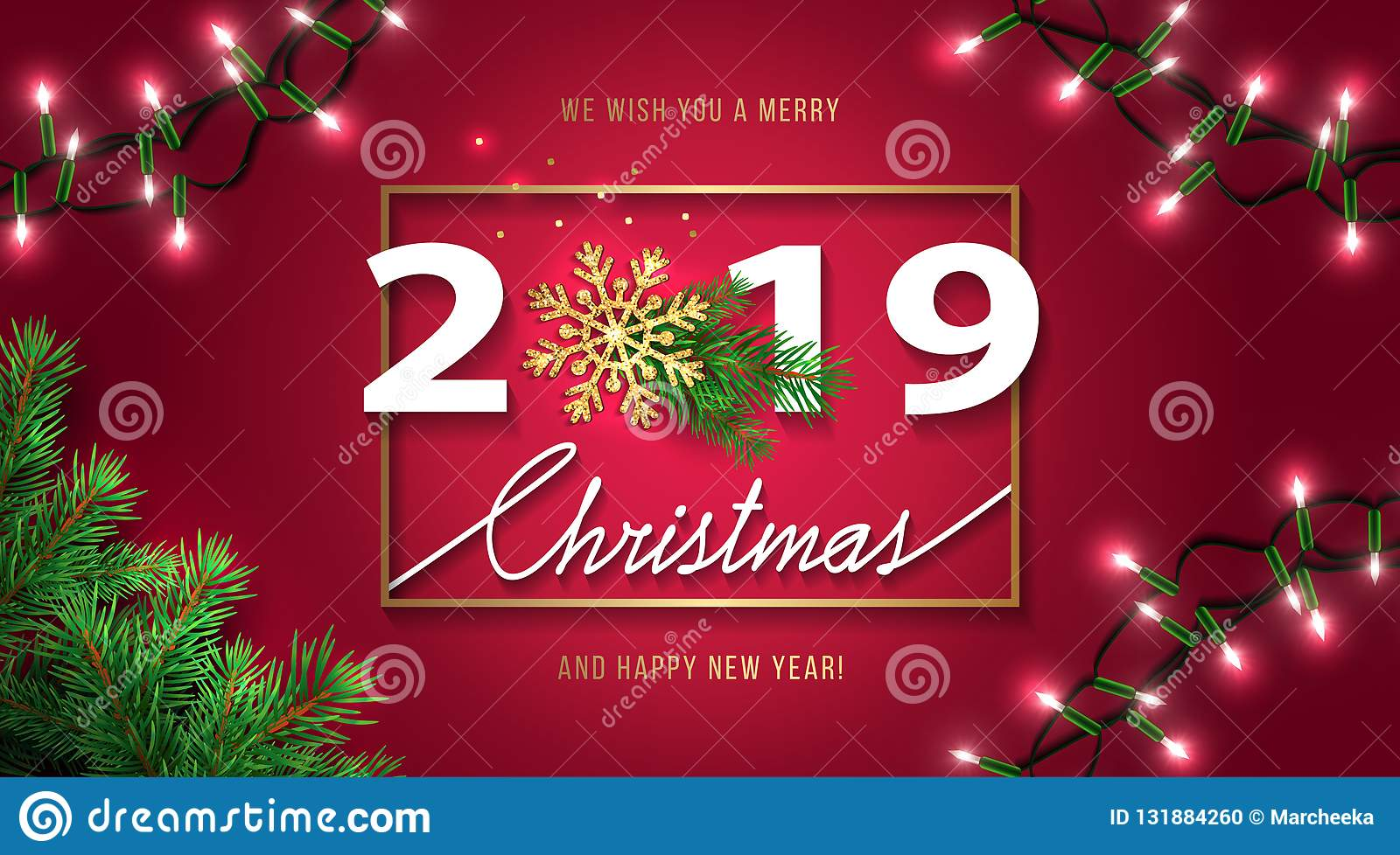 Christmas Season 2019 Merry Christmas And Happy New Year 2019 Greeting Card. Christmas