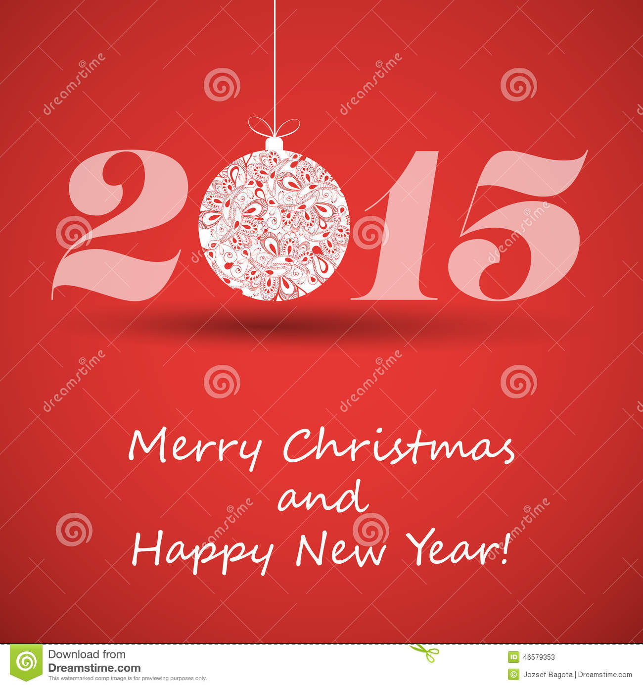 Merry Christmas And Happy New Year Greeting Card 2015 Stock Vector
