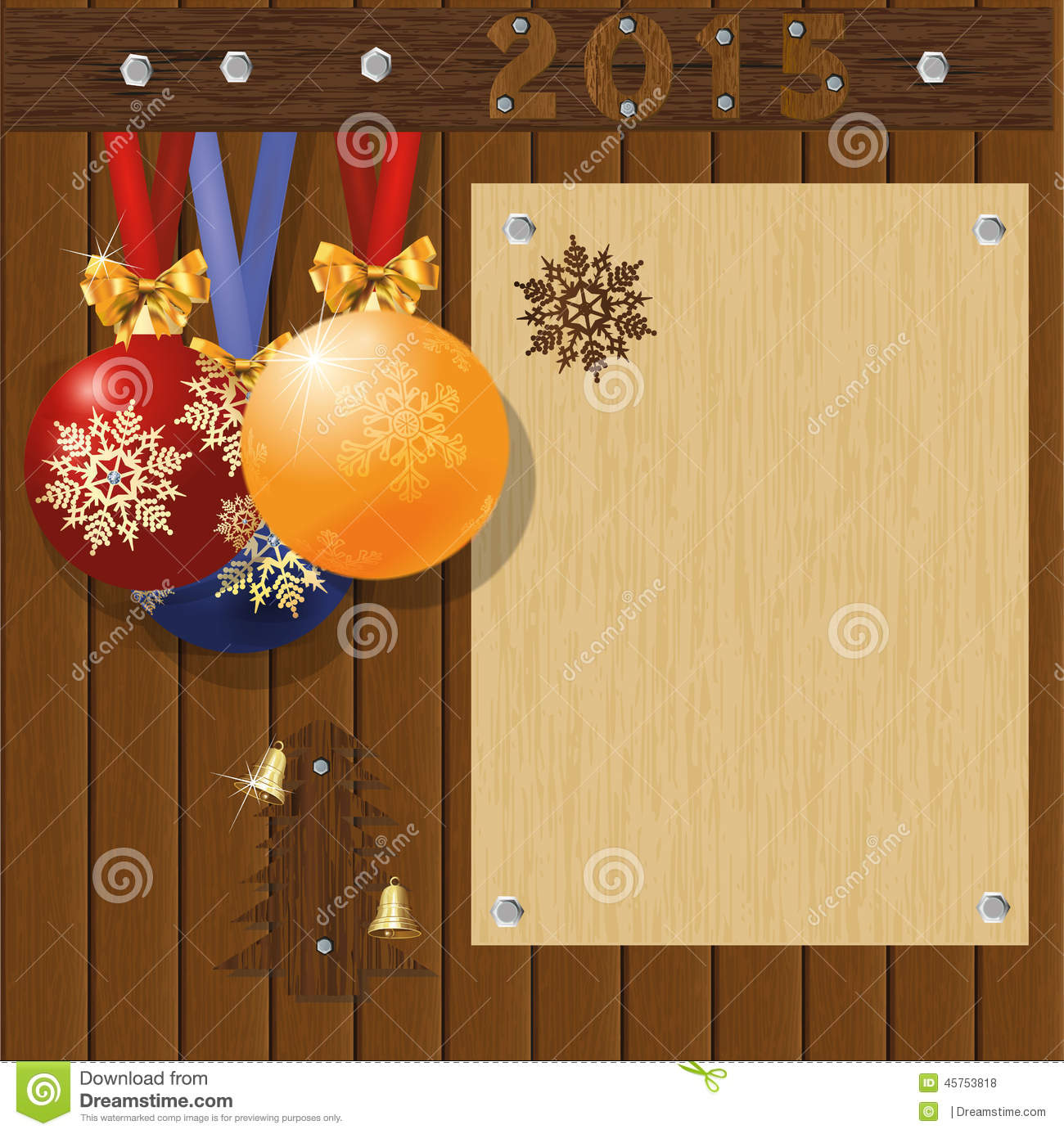merry christmas and happy new year greeting card board with balls