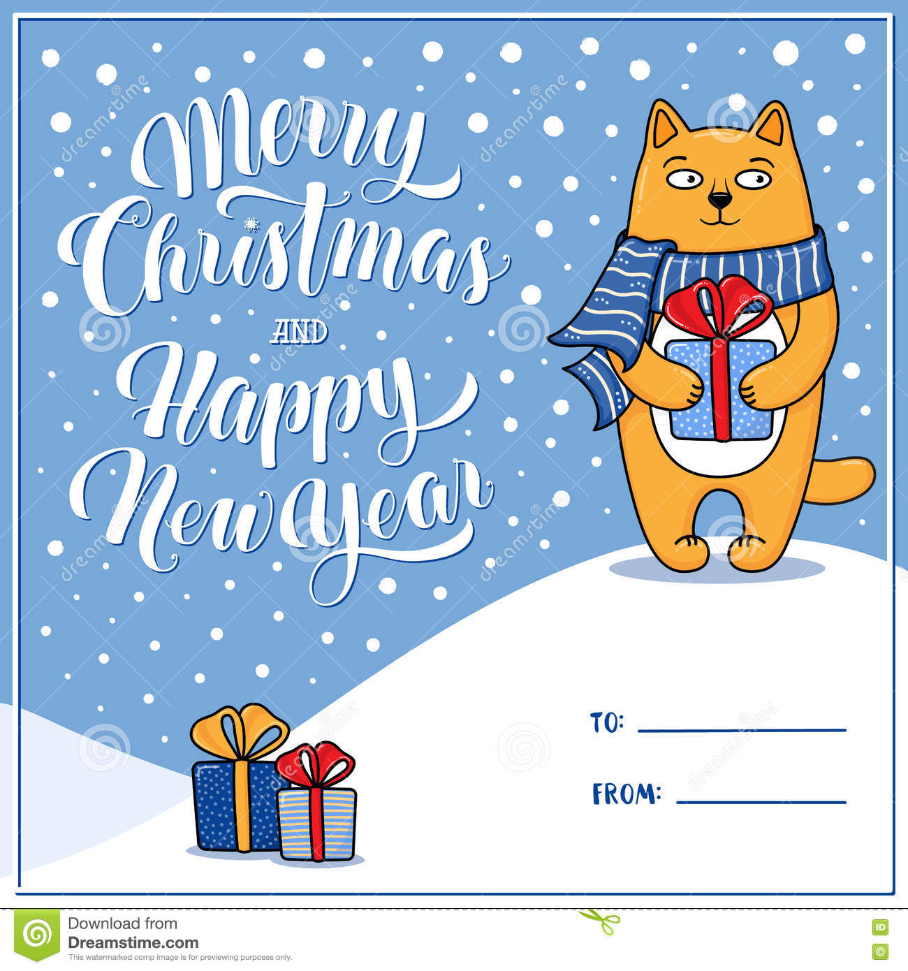 Merry Christmas And Happy New Year Greeting Card With Cat Stock