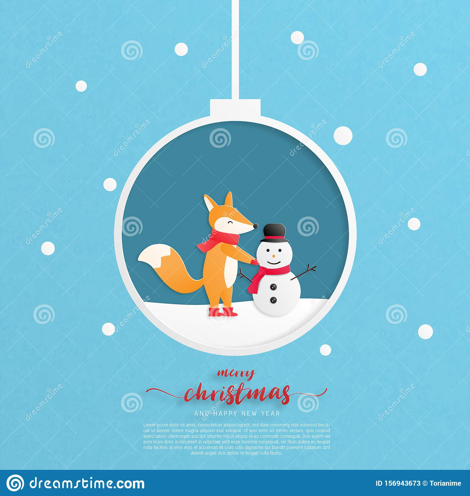merry christmas and happy new year greeting card a happy child fox make a snowman in paper cut style vector illustration stock vector illustration of abstract congratulation 156943673 https www dreamstime com merry christmas happy new year greeting card child fox make snowman paper cut style vector illustration celebration image156943673