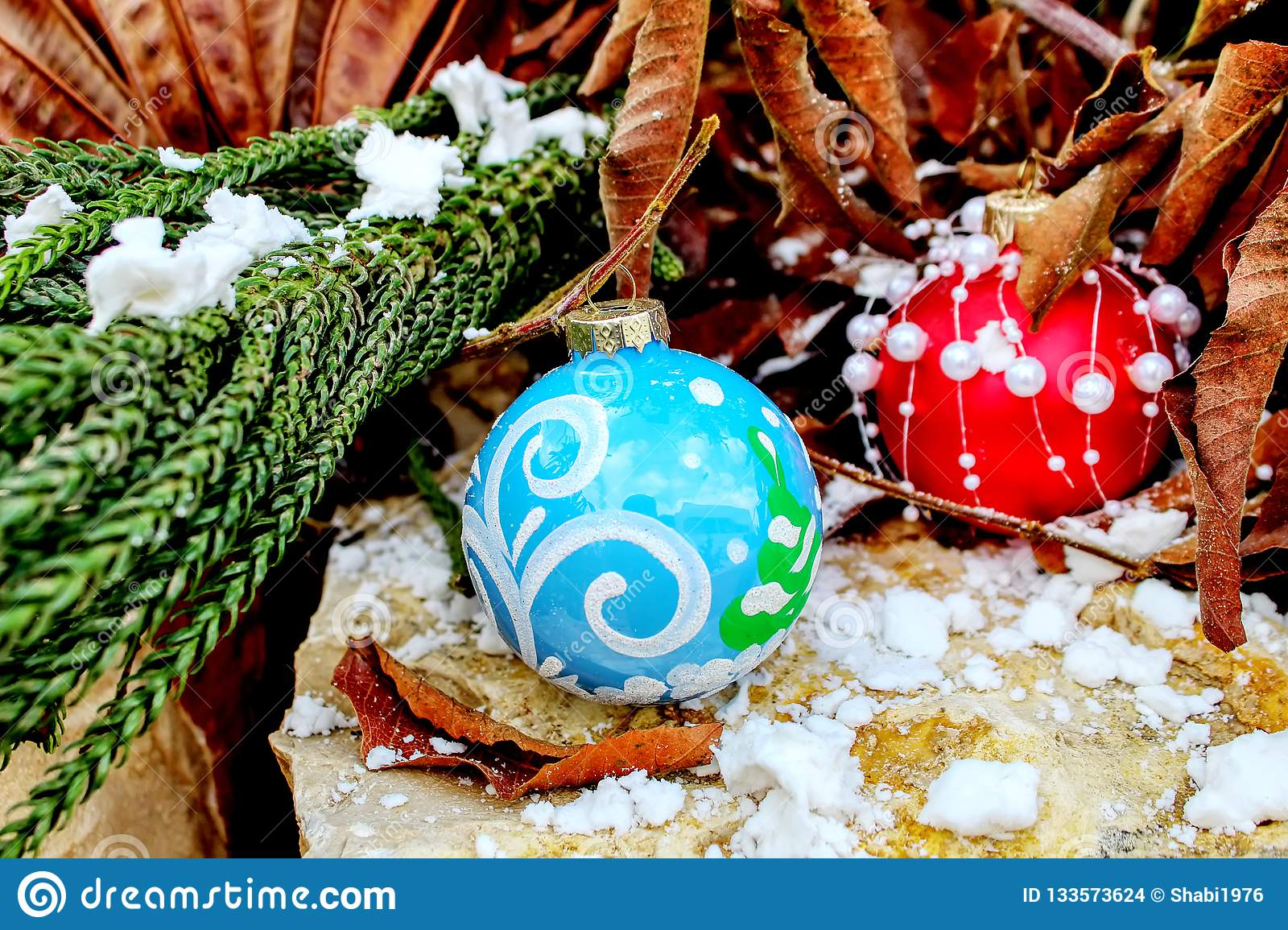 Merry Christmas and Happy New Year greeting card. Christmas balls