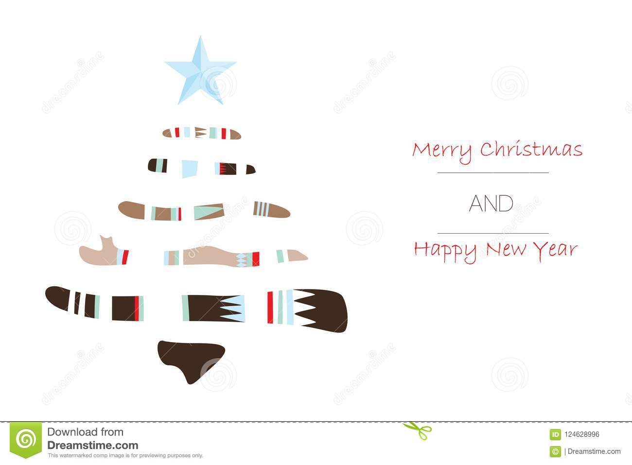 Merry Christmas And Happy New Year Greeting Card With Christmas Tree ...