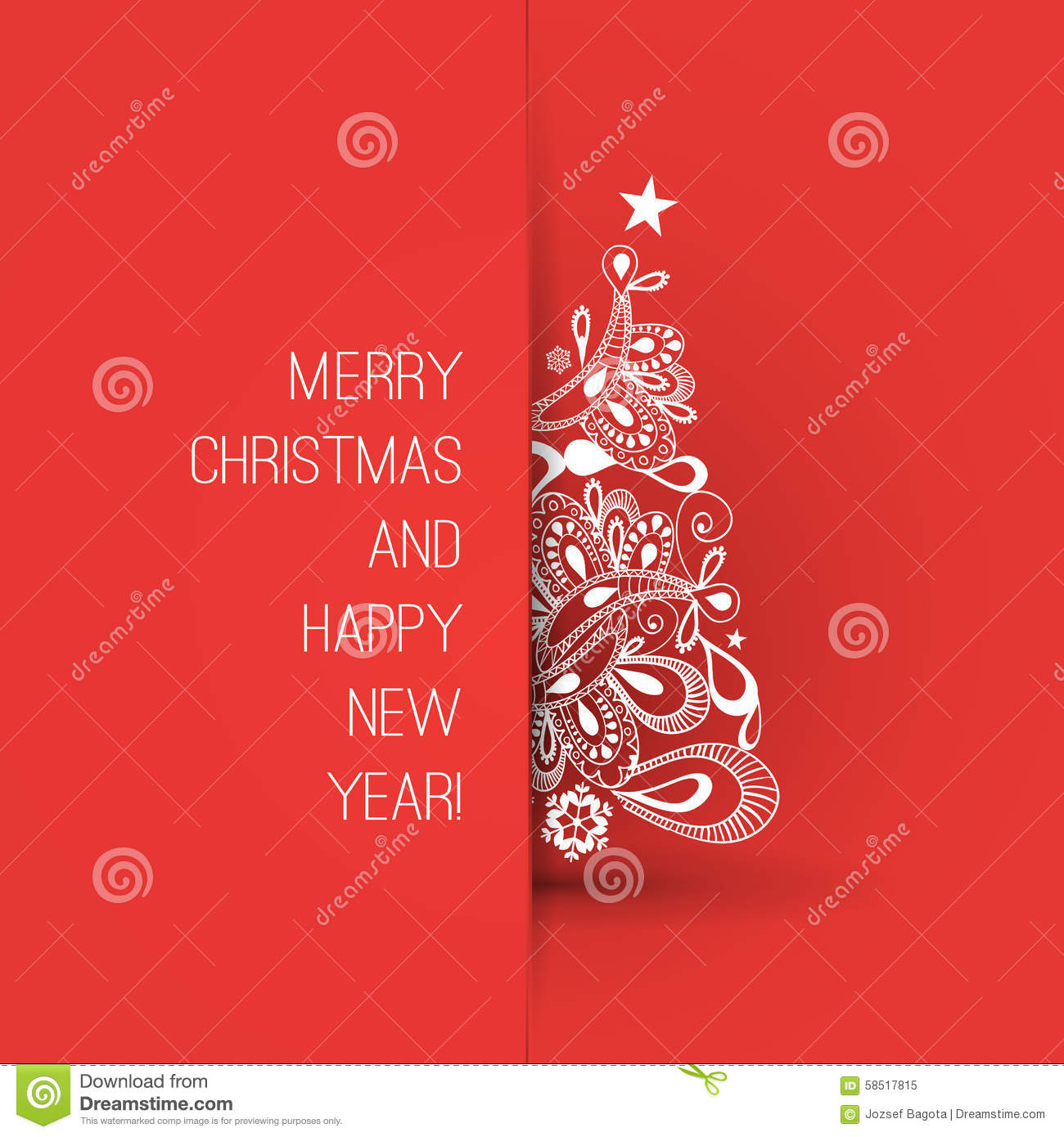 Merry Christmas And Happy New Year Greeting Card, Creative Design ...