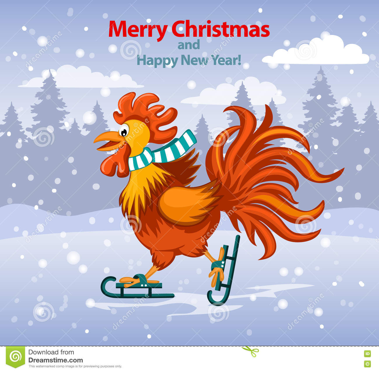 Download Merry Christmas And Happy New Year Greeting Card With Cute Funny  Rooster Ice Skating Stock