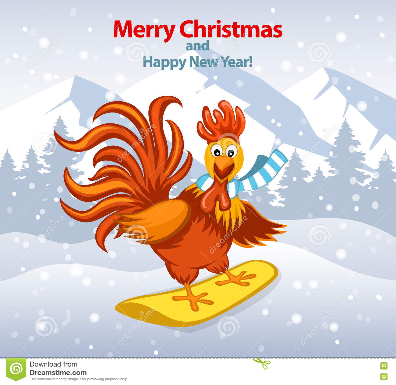Merry christmas and happy new year greeting card with cute funny merry christmas and happy new year greeting card with cute funny rooster on snowboard m4hsunfo
