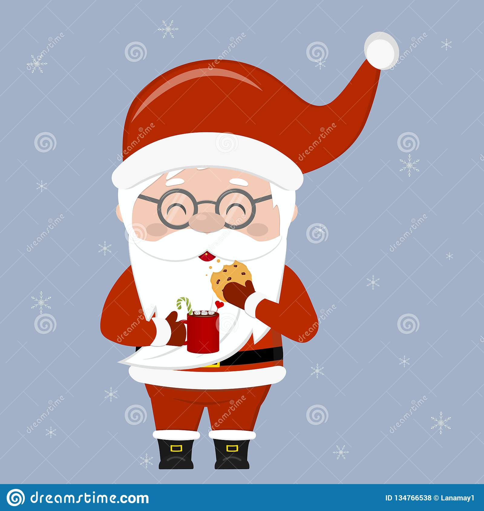 Merry Christmas and Happy New Year greeting card. A cute Santa Claus wearing glasses holds a cup of cocoa and oatmeal cookies with