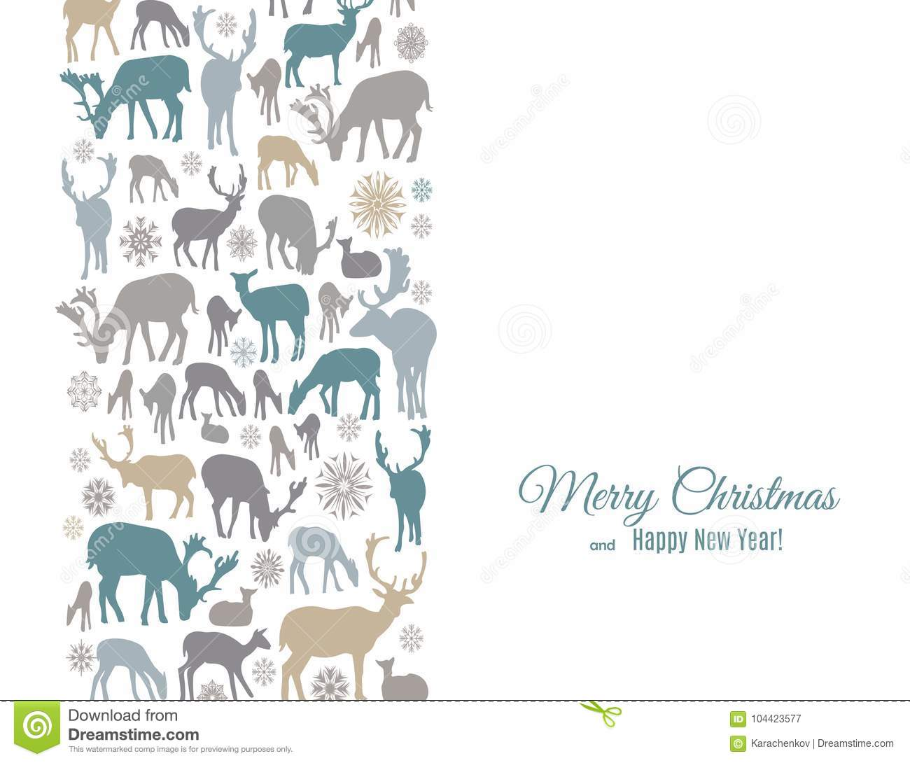 merry christmas and happy new year greeting card with deers and snowflakes pattern vertical border on