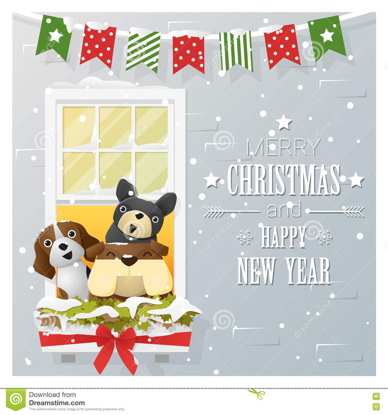 download merry christmas and happy new year greeting card with dog family stock vector illustration