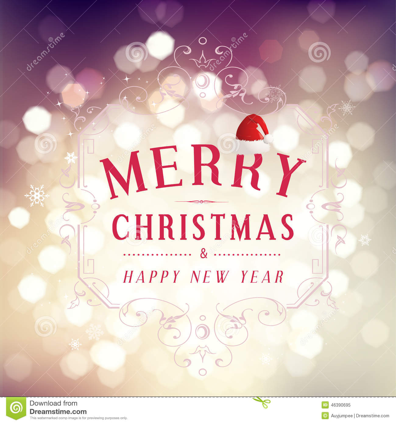Merry Christmas and Happy New Year greeting card festive inscription with ornamental elements on bokeh vintage background, vector