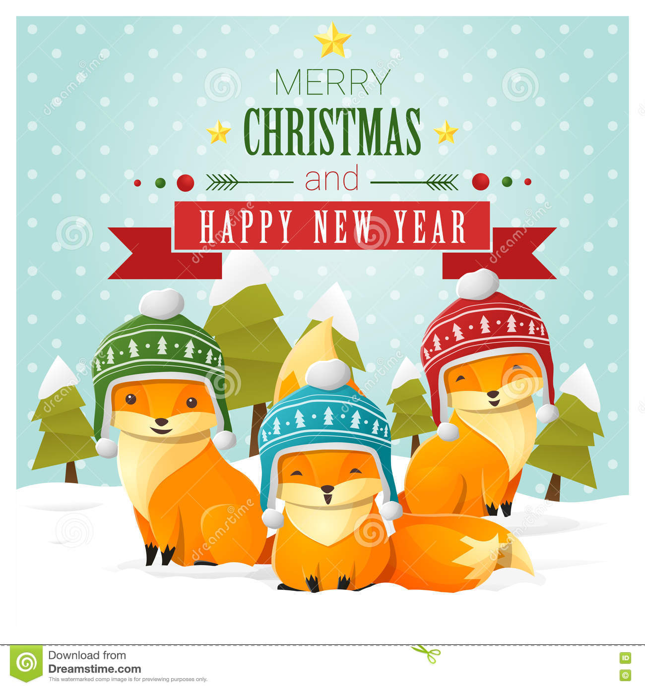 merry christmas and happy new year greeting card with fox family - Merry Christmas To The Family