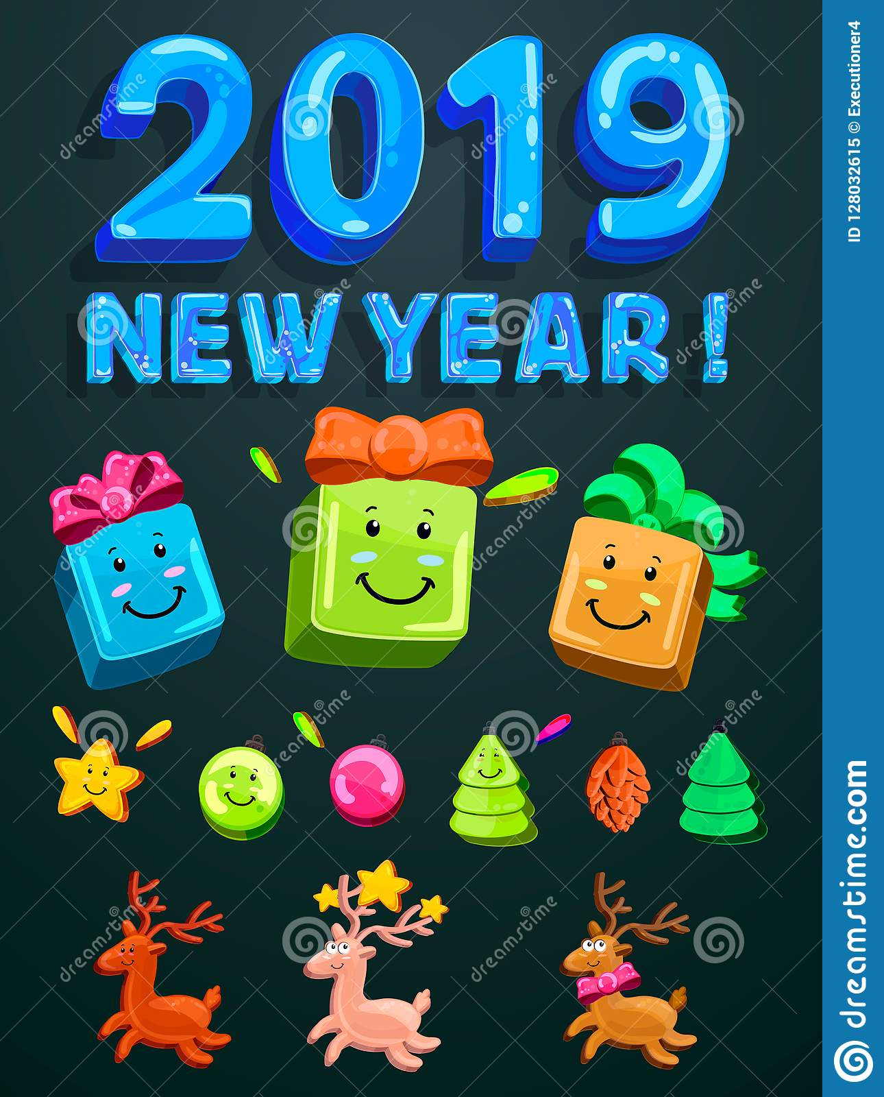 Merry Christmas And Happy New Year 2019 Greeting Card. Funny Numbers And Gifts. Bright Vector ...