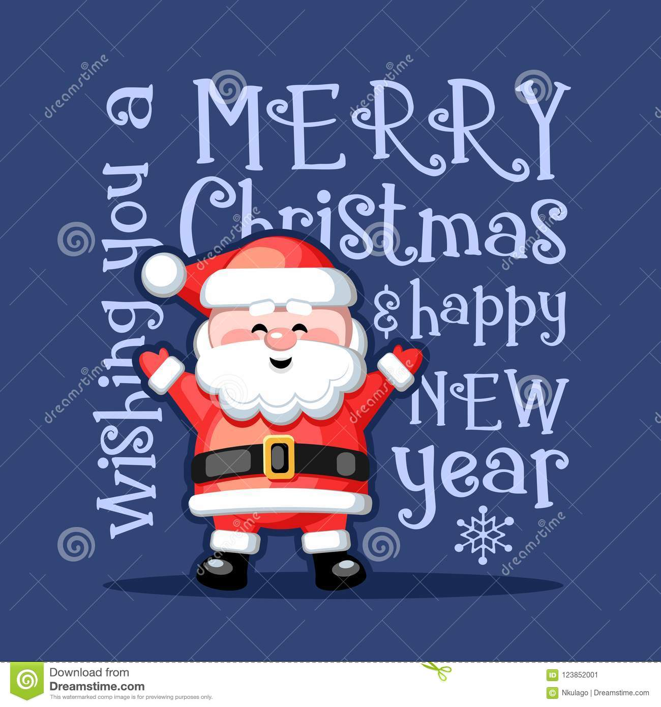Merry Christmas And Happy New Year. Greeting Card With Funny Santa ...