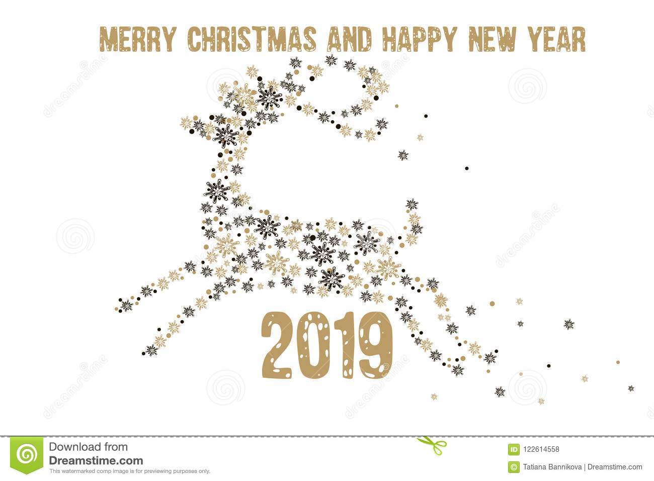 Christmas And New Year Greetings 2019 Merry Christmas And Happy New Year 2019 Greeting Card. Golden De