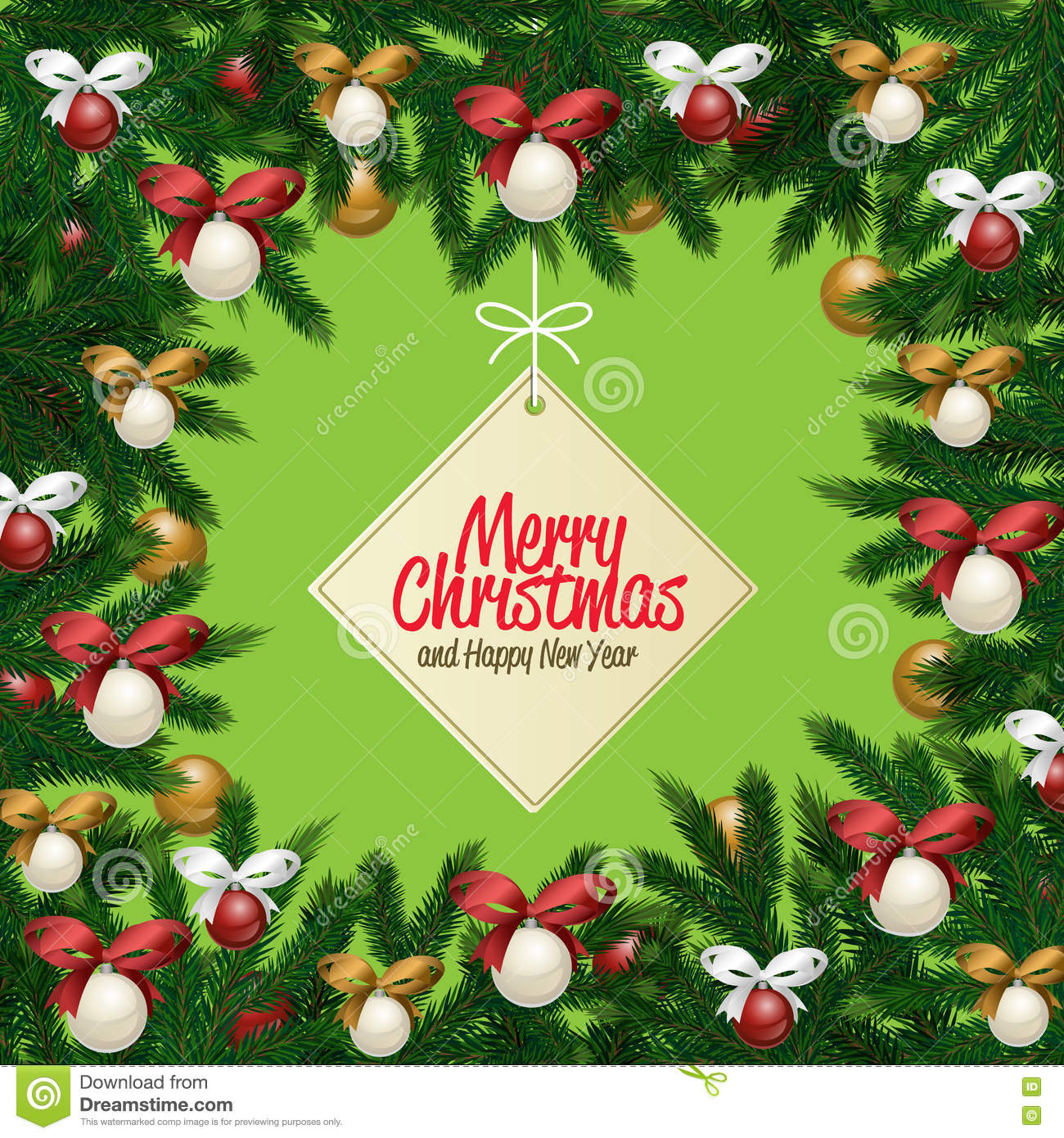 Merry Christmas And Happy New Year Greeting Card Stock Vector