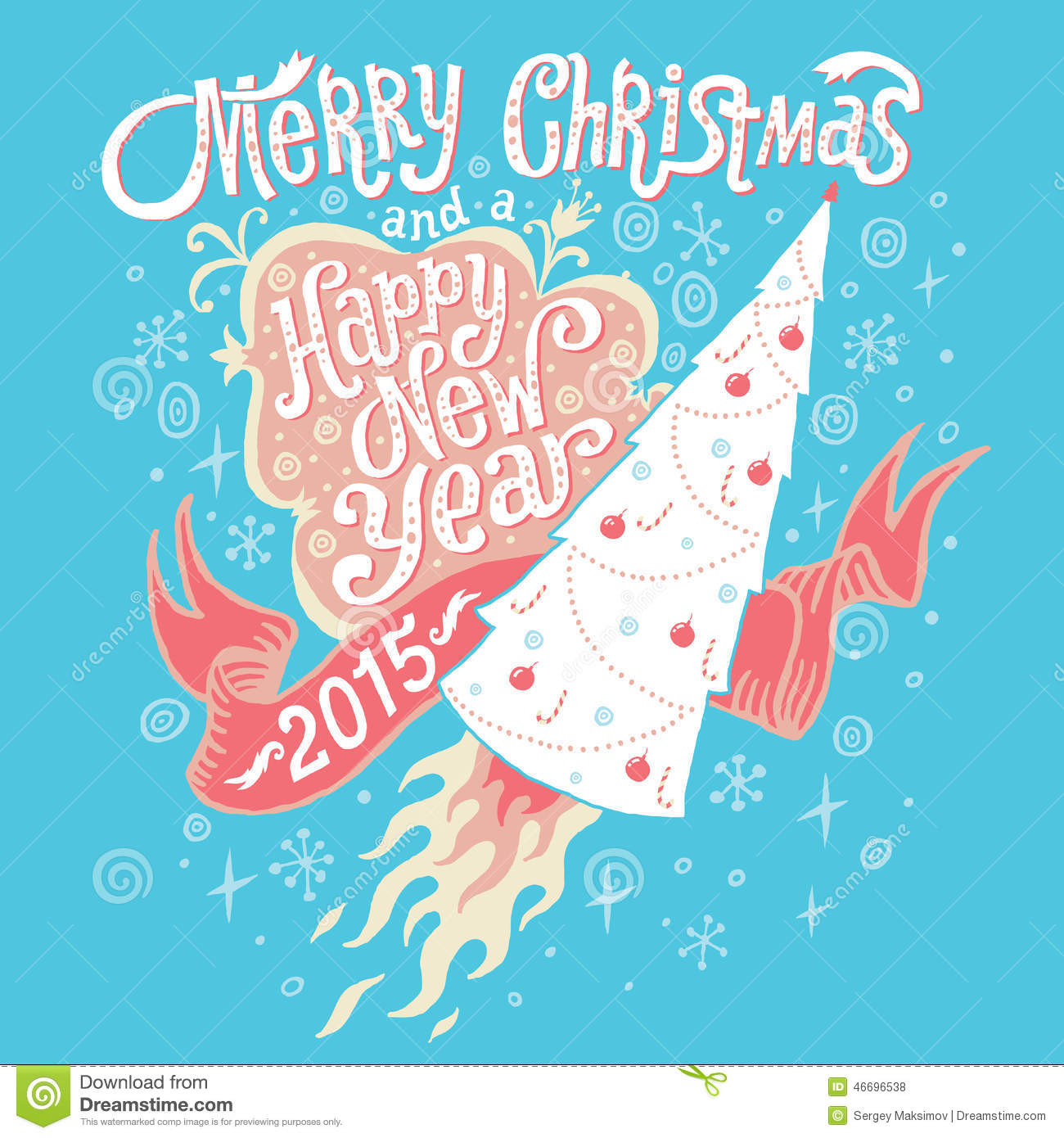 Merry Christmas And Happy New Year 2015 Greeting Card With Hand