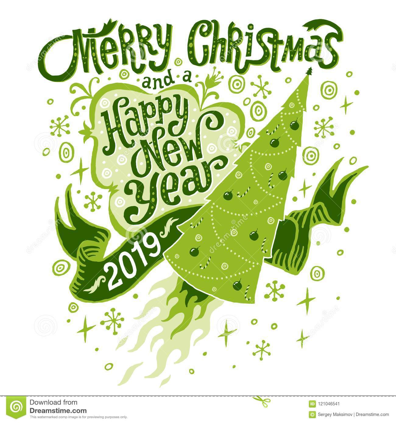 Christmas And New Year Greetings 2019 Merry Christmas And Happy New Year 2019 Greeting Card Stock Vector