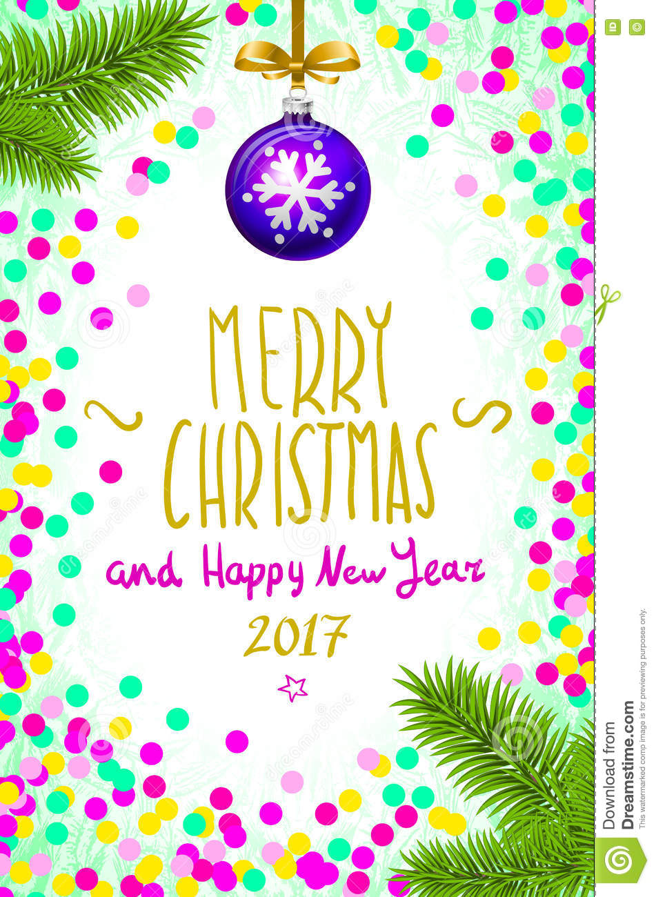 Merry Christmas And Happy New Year 2017 Greeting Card, Illustration ...