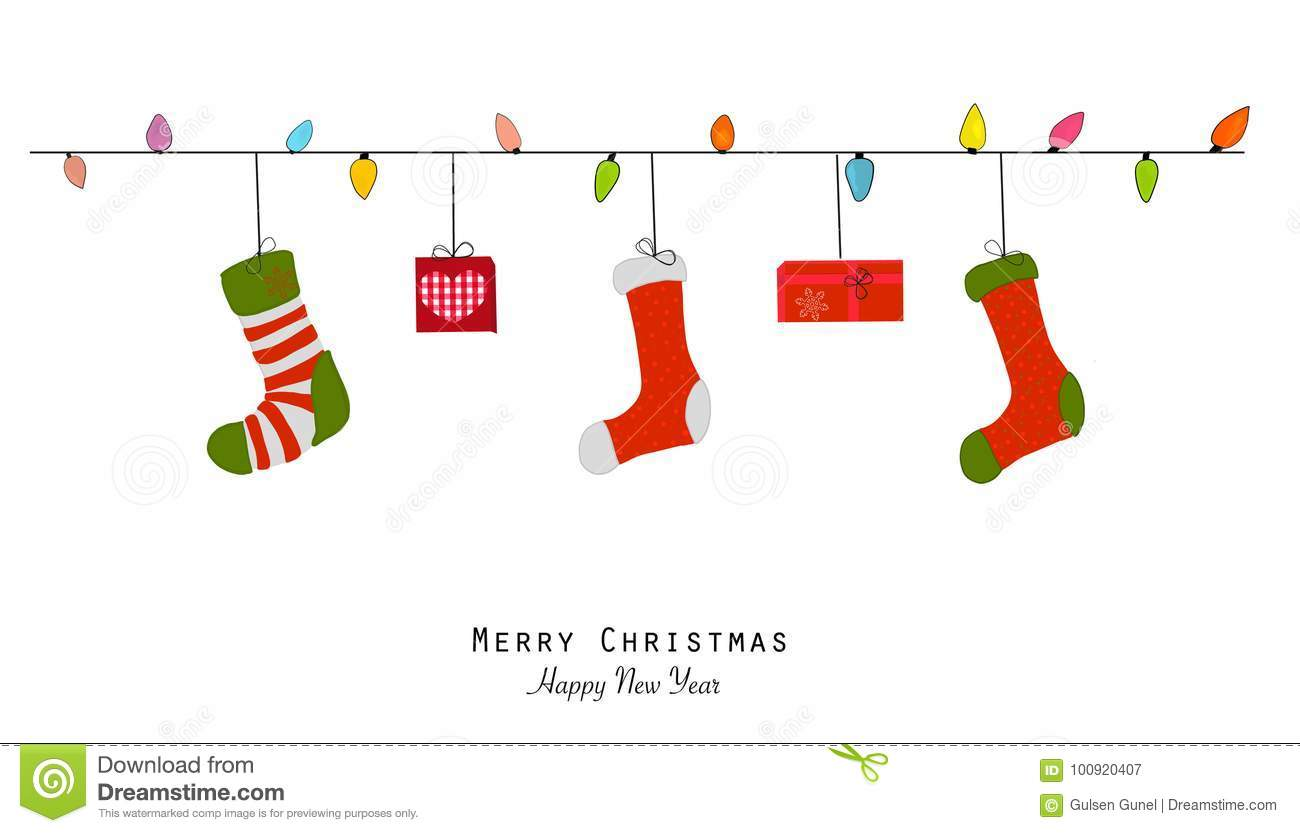 merry christmas and happy new year greeting card light bulb christmas socks and gift
