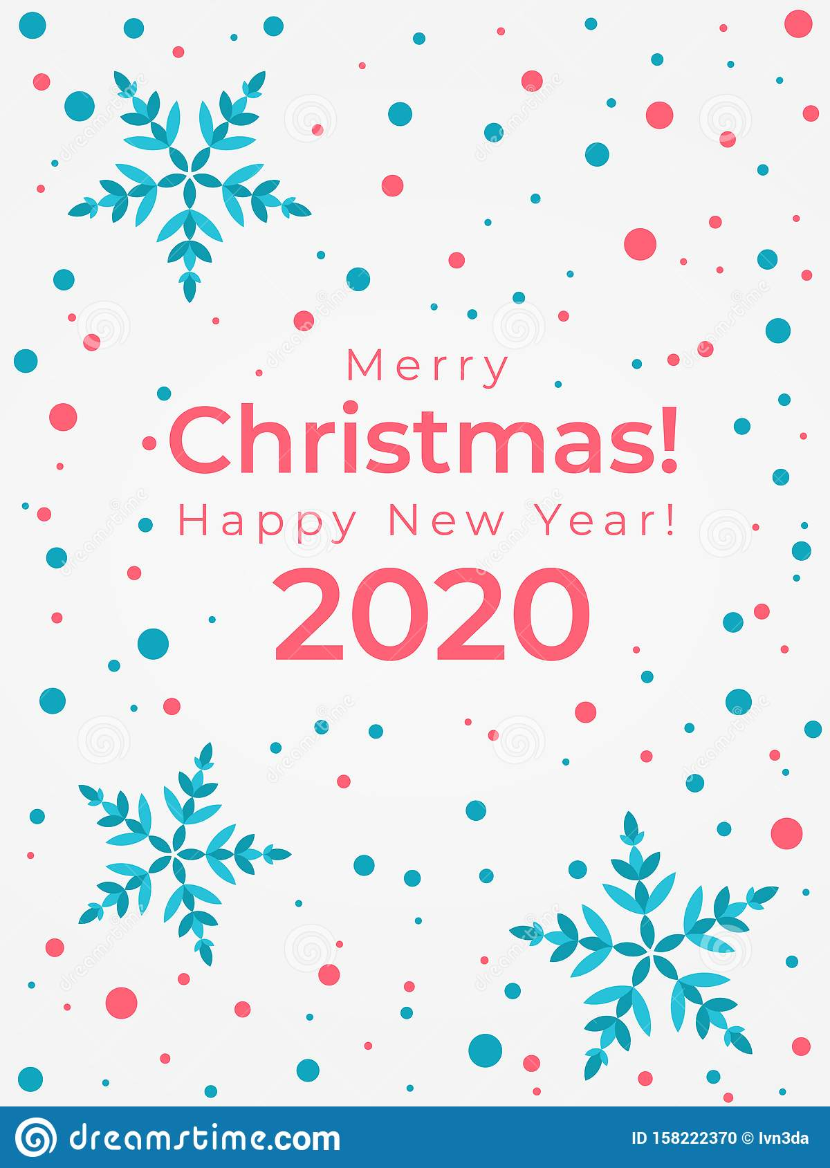 Merry Christmas And Happy New Year 2020 Greeting Card Stock Vector