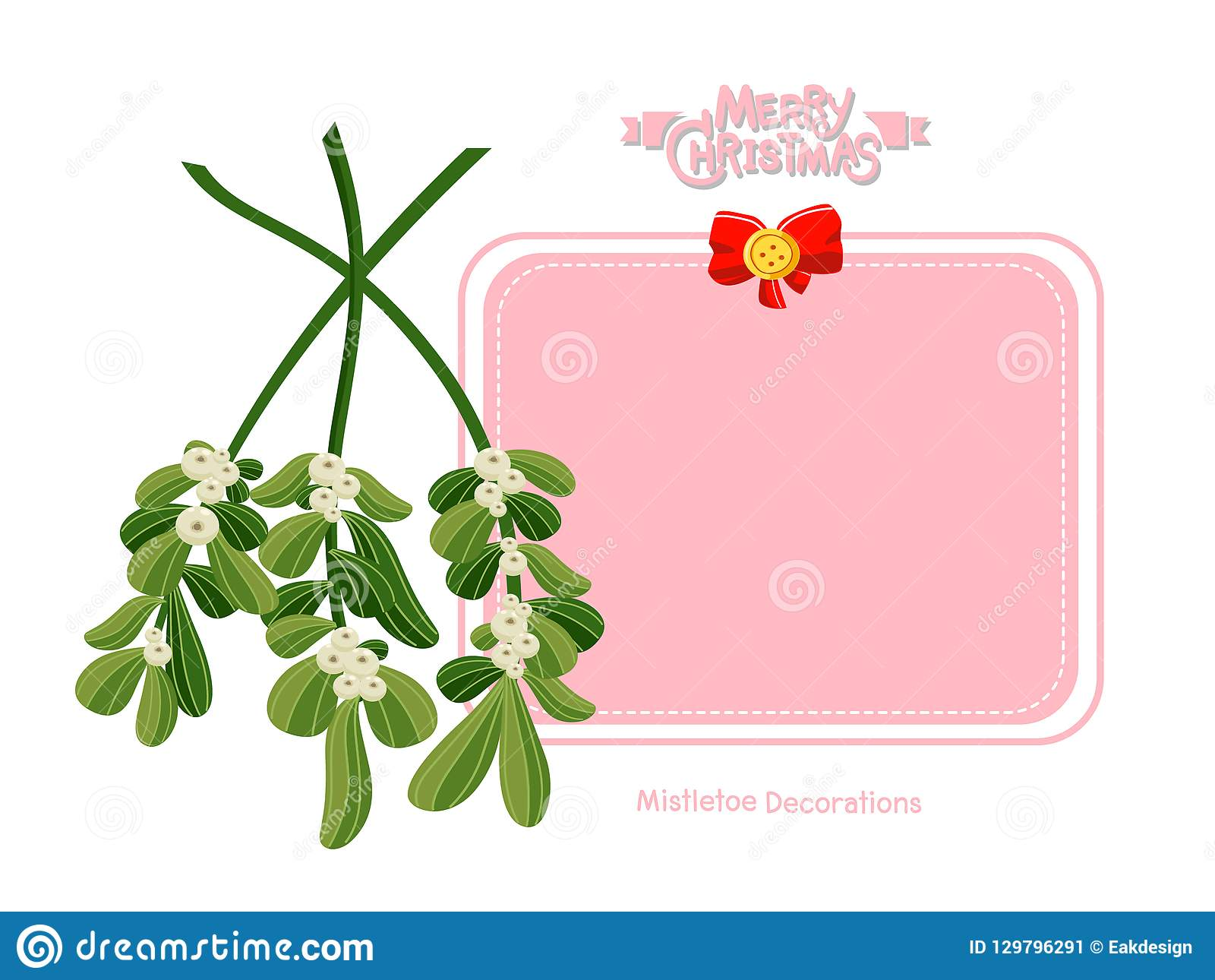 merry christmas and happy new year greeting card with mistletoe