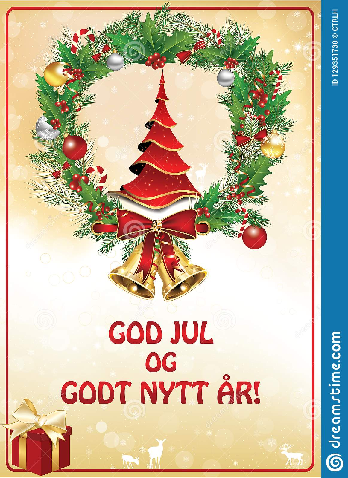Merry Christmas In Norwegian.Merry Christmas And Happy New Year Greeting Card In